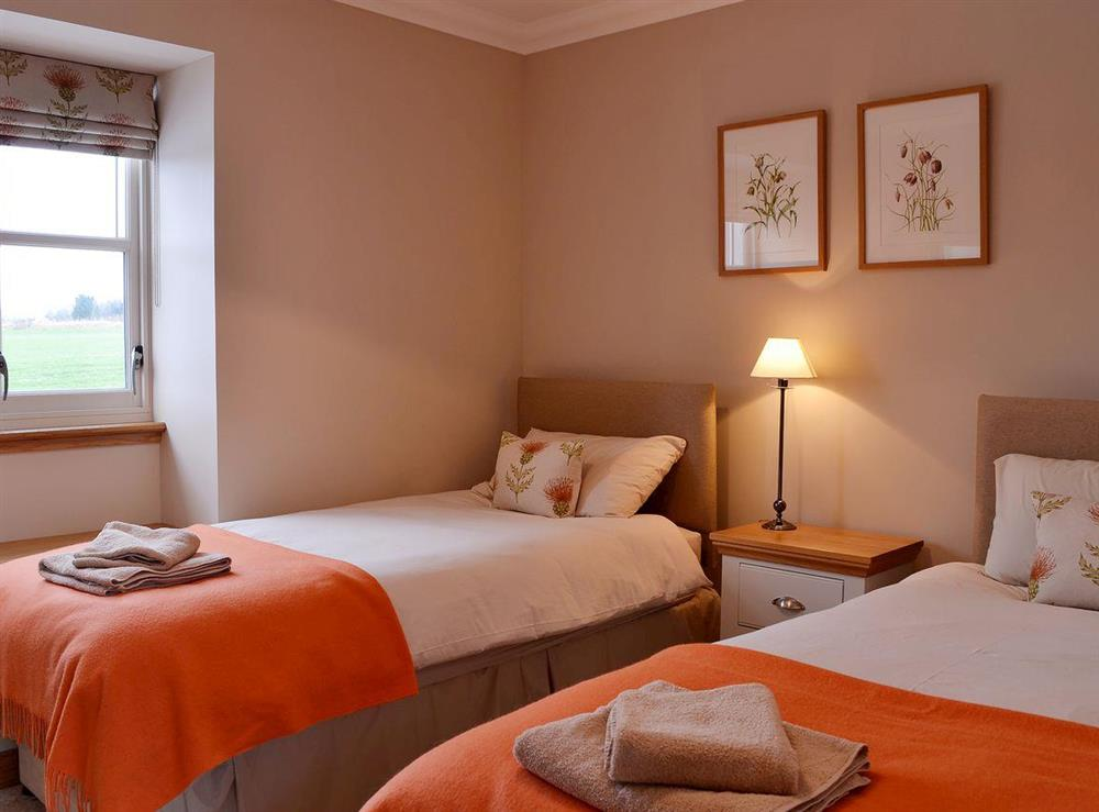 Comfortable twin bedroom at Canterland Lodge in Marykirk, near Montrose, Aberdeenshire, Scotland