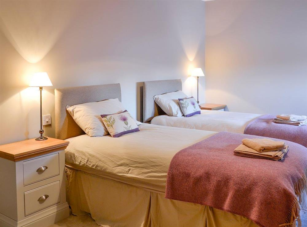 Cosy twin bedded room at Canterland Lodge in Marykirk, near Montrose, Aberdeenshire, Scotland