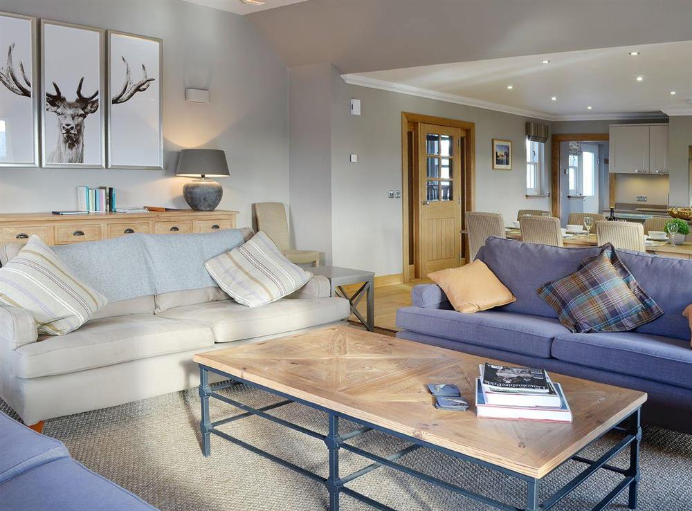 Large and airy open plan living area at Canterland Lodge in Marykirk, near Montrose, Aberdeenshire, Scotland