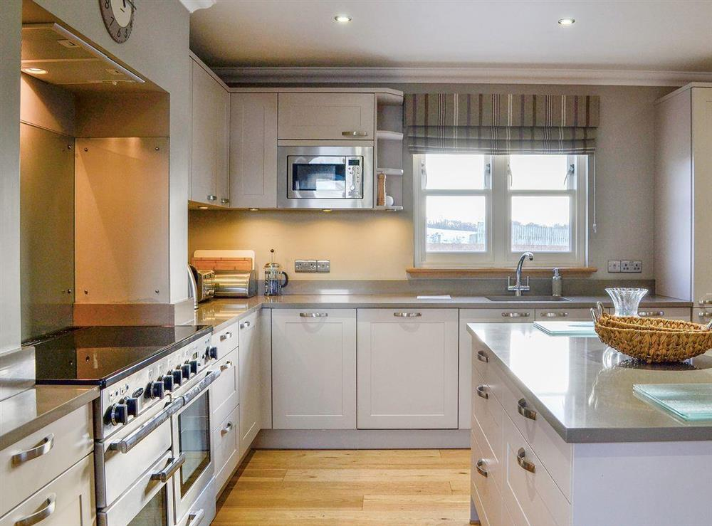 Well fitted and well equipped kitchen area at Canterland Lodge in Marykirk, near Montrose, Aberdeenshire, Scotland