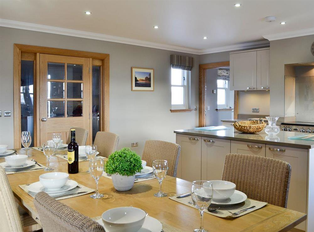 Wonderful dining table seating up to 8 people at Canterland Lodge in Marykirk, near Montrose, Aberdeenshire, Scotland