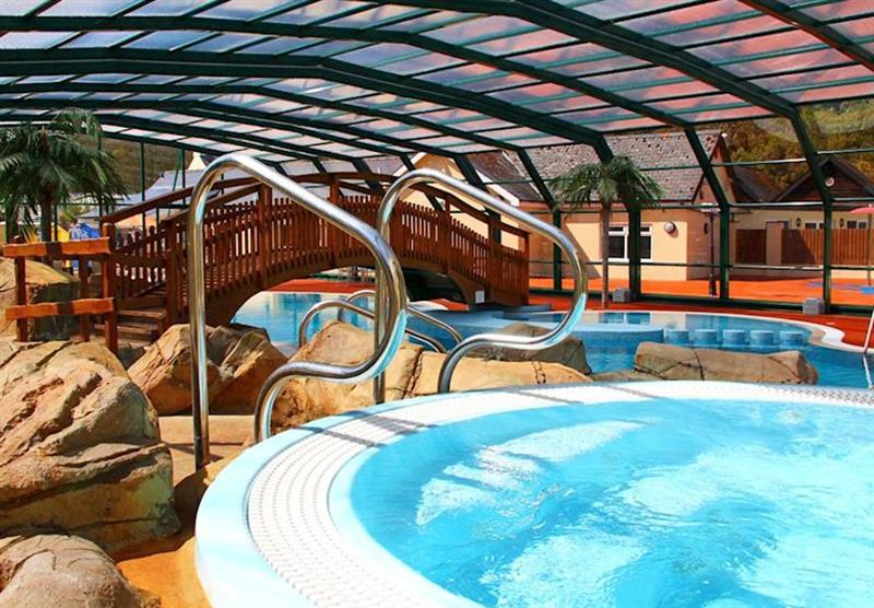 Swimming pool with retractable roof at Cardigan Bay Holiday Park in Pembrokeshire, South Wales