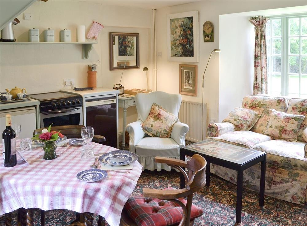 Open plan living/dining room/kitchen at Cerne Abbey Cottage in Cerne Abbas, Dorset., Great Britain