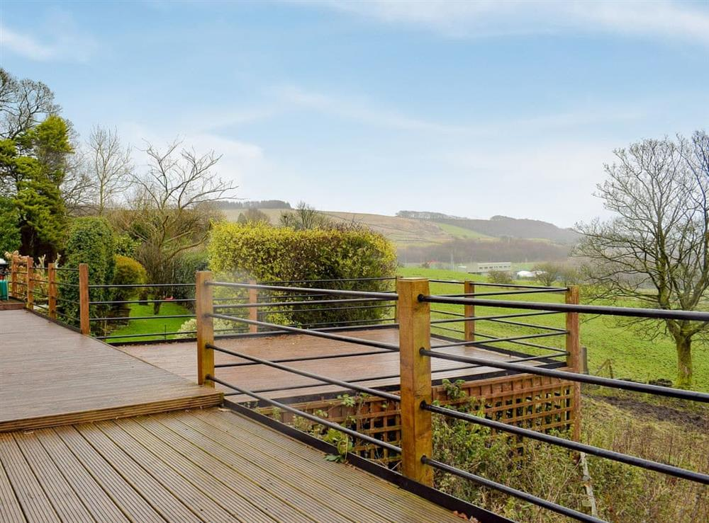 Decking with stunning views of the surrounding area at Chapel Hill Farm in Rawtenstall, Lancashire