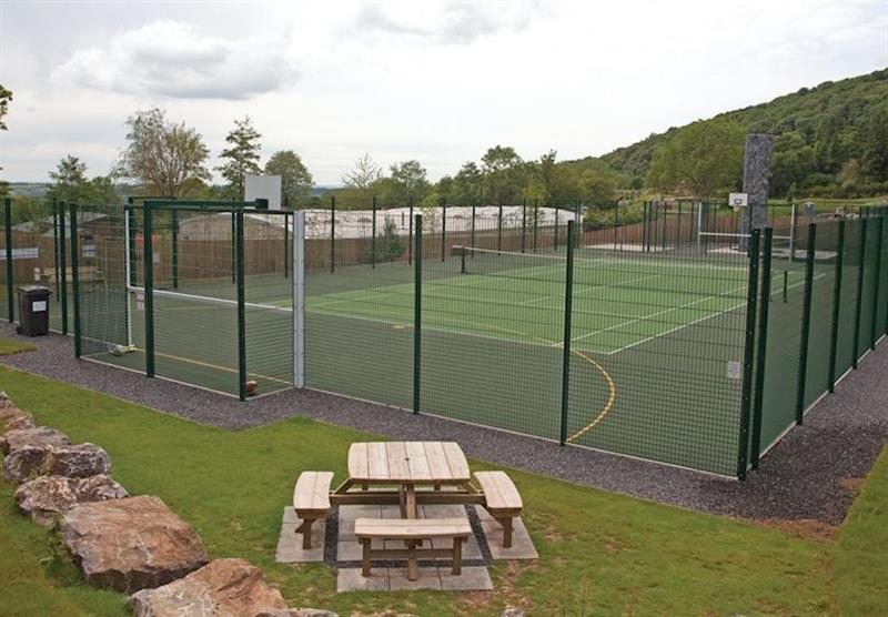 Tennis court at Cheddar Woods in , Somerset