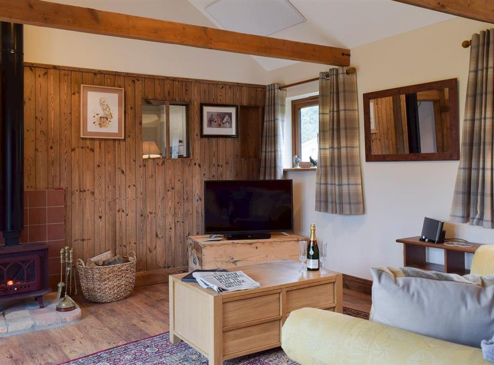 Cosy beamed living area with a wood burner at Chick Hatch Barn in Carlton, near Saxmundham, Suffolk
