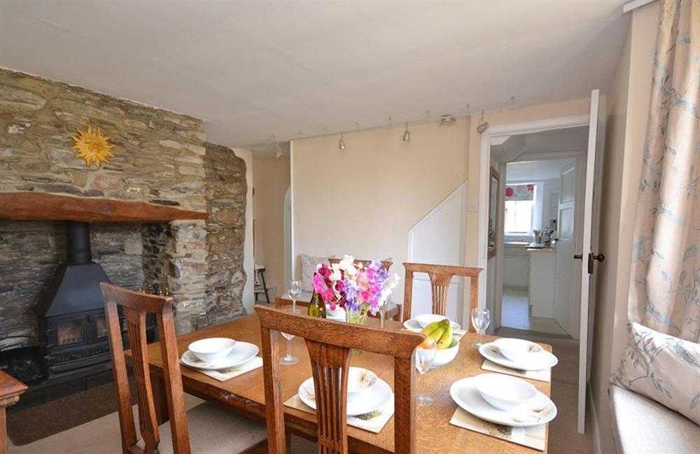 The dining table comfortably seats 7 at Churchgate House, Blackawton