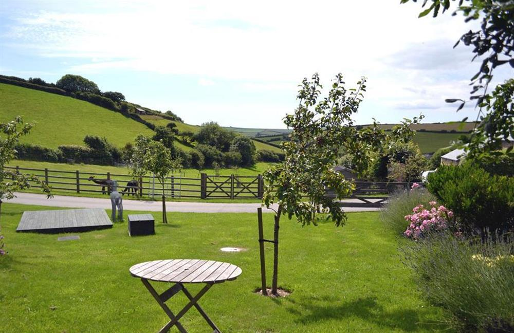 Garden and view at Clarence Cottage, Stoke Fleming
