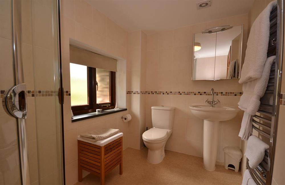 The spacious shower room at Clarence Cottage, Stoke Fleming
