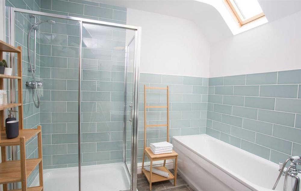 Spacious shower cubical and bath with shower hose
