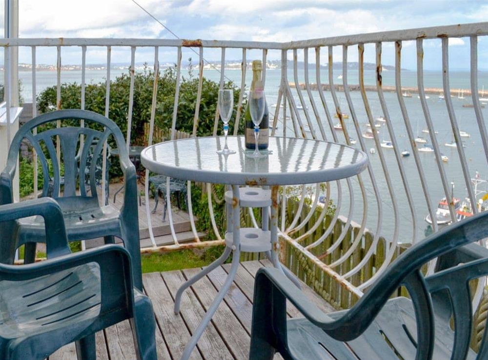 Balcony with sea views at Cliff Cottage in Brixham, Devon