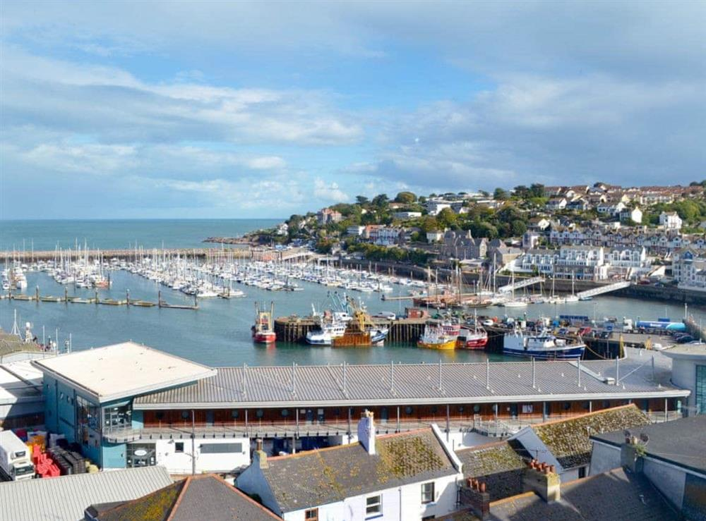 Views towards the harbour from the bedroom at Cliff Cottage in Brixham, Devon