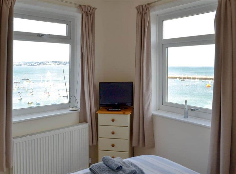 Wonderful sea views from the double bedroom at Cliff Cottage in Brixham, Devon