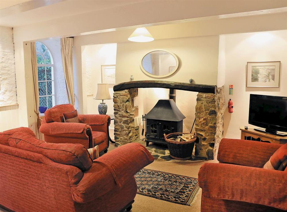 Living room at Clock Tower Cottage in Bow Creek, Nr Totnes, South Devon., Great Britain