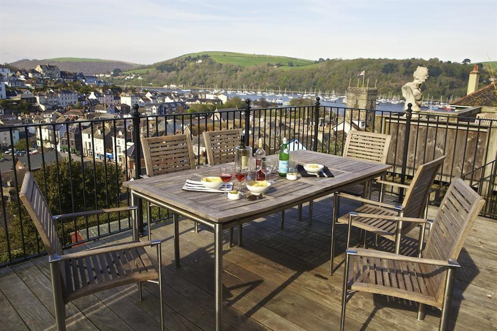 Lovely views from terrace across the town and river (photo 2) at Cobbs Cottage in 20 Crowthers Hill, Dartmouth