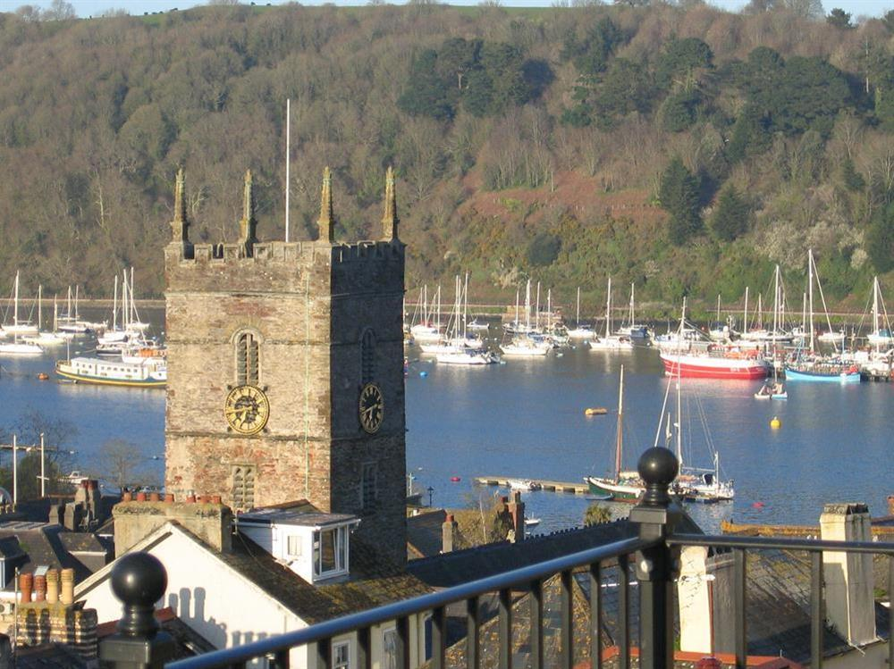 Lovely views from terrace across the town and river at Cobbs Cottage in 20 Crowthers Hill, Dartmouth