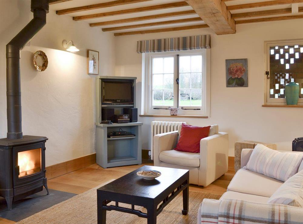Cosy living area with exposed wooden beams throughout at Field House,