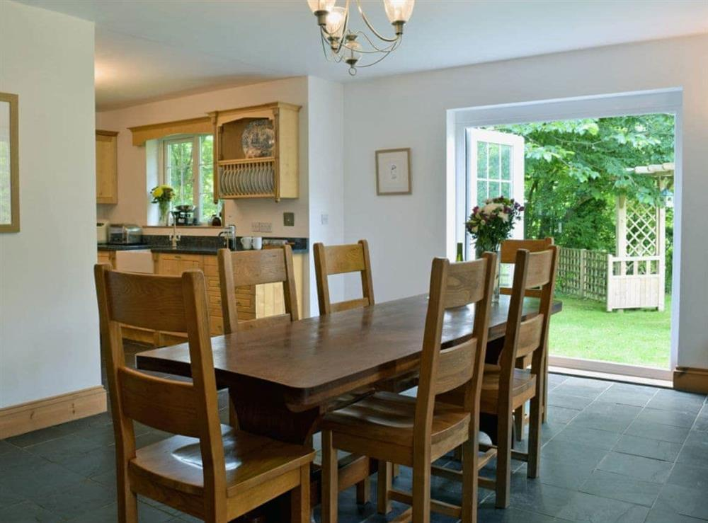 Beautifully presented kitchen/dining room with patio doors leading to garden at Cornant in Llechryd, near Cardigan, Dyfed