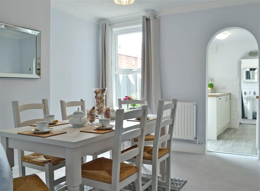 Light and airy dining room at Coronation Cottage in Pakefield, near Lowestoft, Suffolk