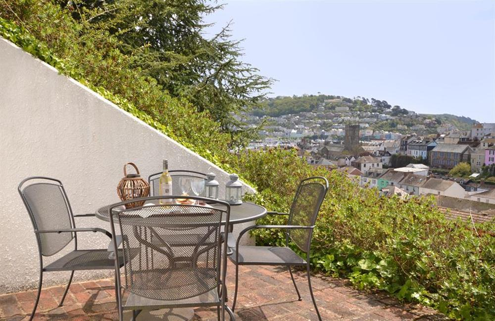 The lower terrace accessed from the kitchen diner at Cotterbury, Dartmouth