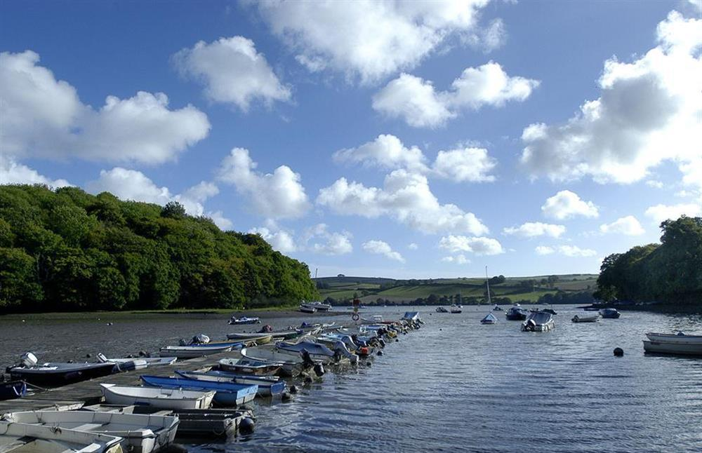 Another view of the pontoon. The Mill Pool looking down the creek to the Dart estuary at Crab Cottage, Stoke Gabriel