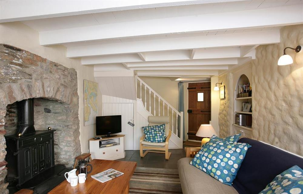The inviting lounge with gas fired stove for those chilly evenings at Crab Cottage, Stoke Gabriel