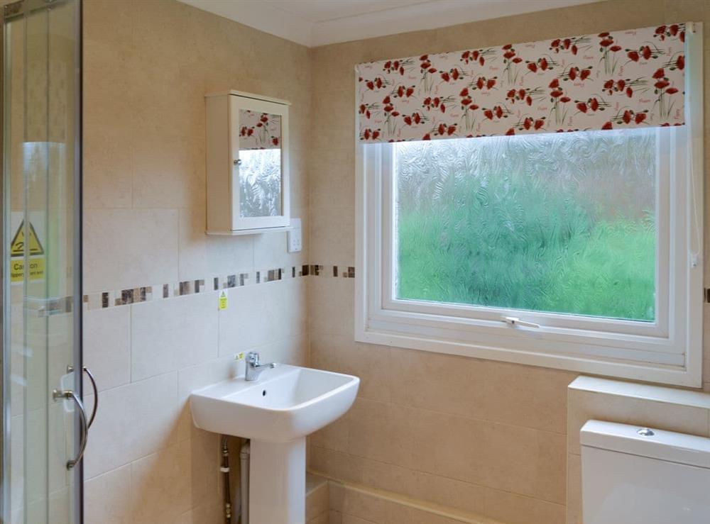 Shower room at Crock of Gold in Bacton, Norfolk