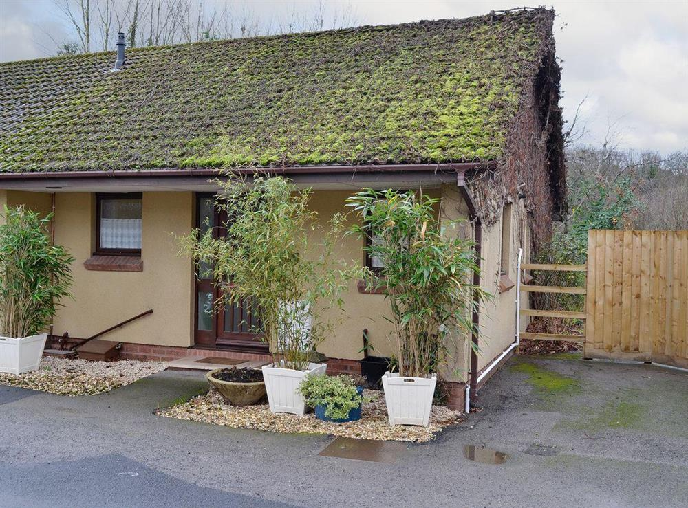 Single storey mossy cottage with climbing plants at Bungalow 1,