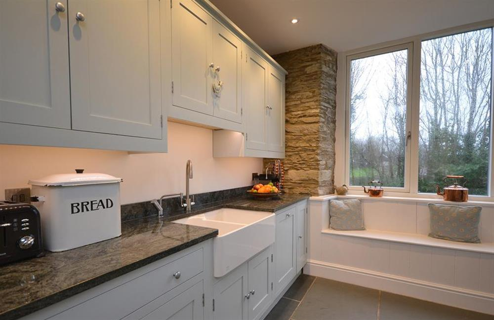 Another view of the kitchen with double belfast sink at Cuttery House, East Allington
