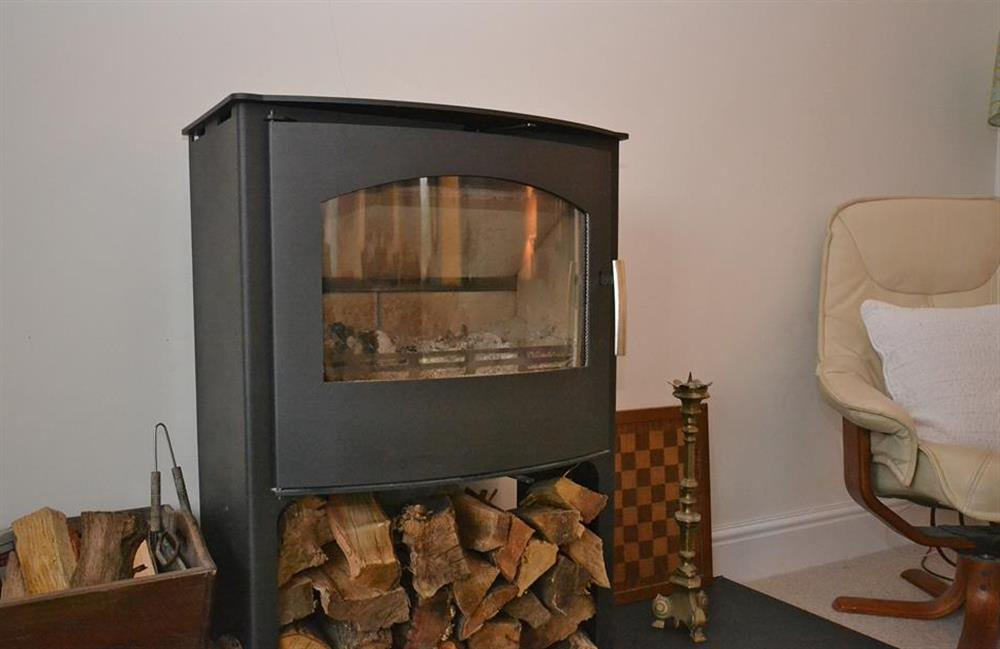 The cosy woodburner at Cuttery House, East Allington