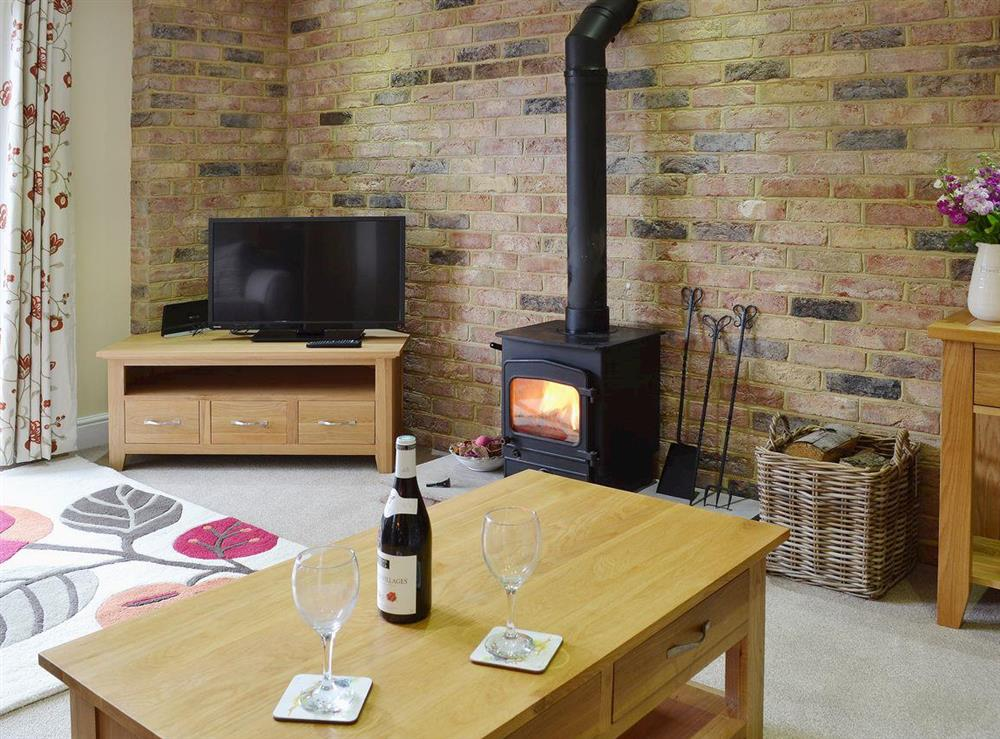 Comfortable living room with woodburner at Dairy Cottage in Pembury, near Tunbridge Wells, Kent