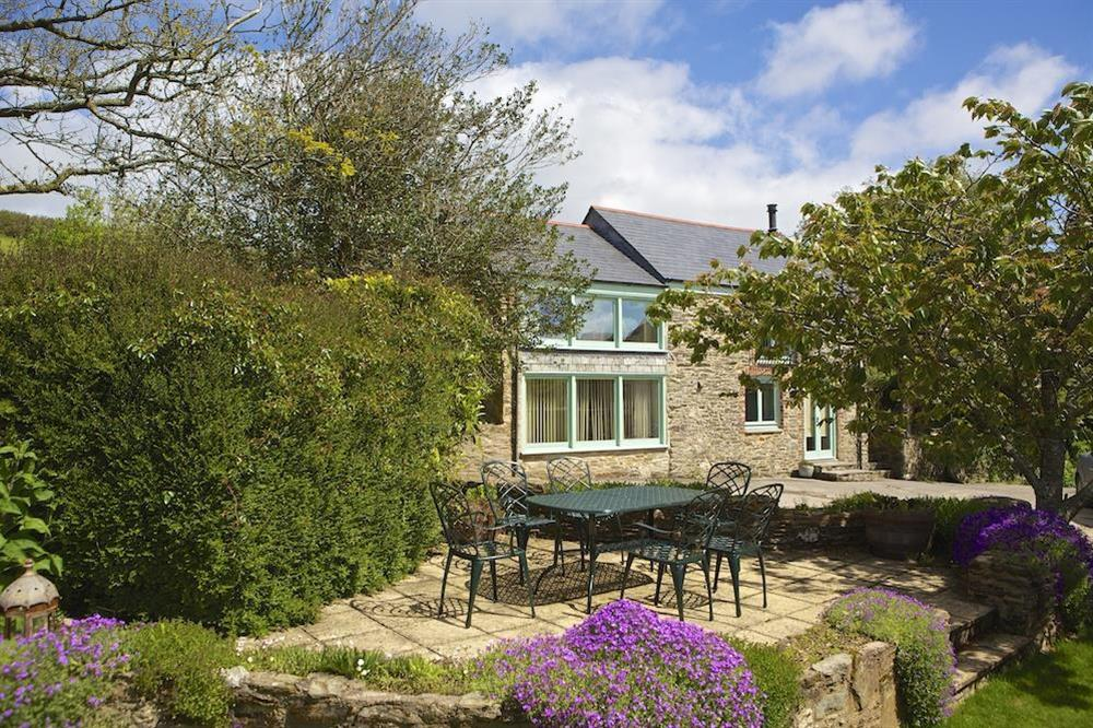 Private terrace with table and chairs for six, with lovely country view at Daisy in Blackawton, Dartmouth