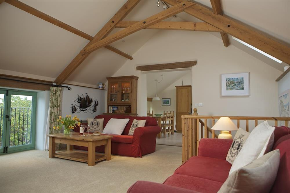 Spacious first floor lounge leading to the open plan kitchen diner at Daisy in Blackawton, Dartmouth