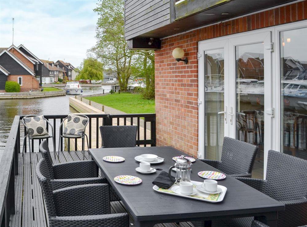 Delightful veranda at Davids Island in Wroxham, Norfolk
