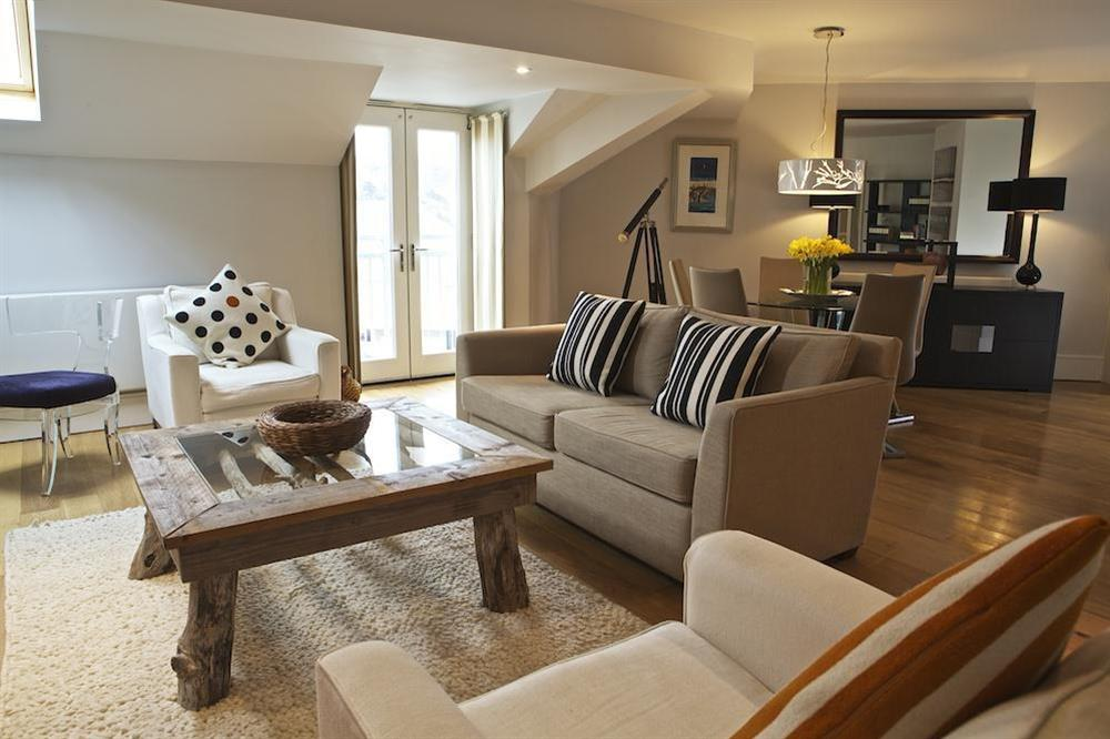 Exquisitely furnished open plan lounge at Diddly Squat, 43 Dart Marina in , Dart Marina