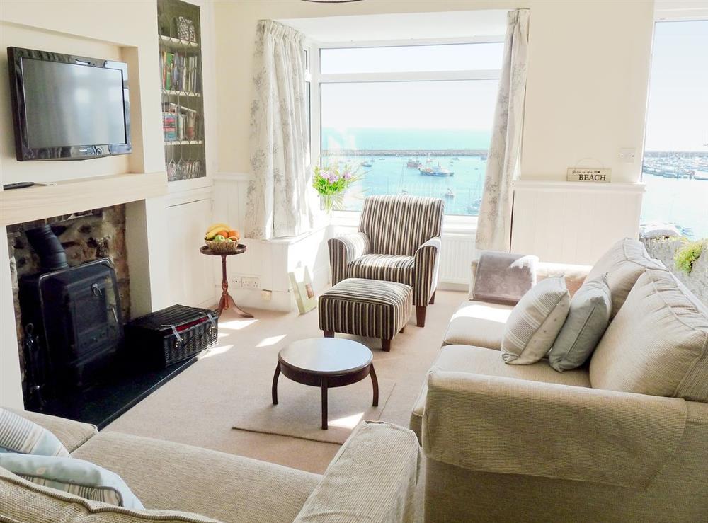 Living room at Dolphin Cottage in Brixham, Devon