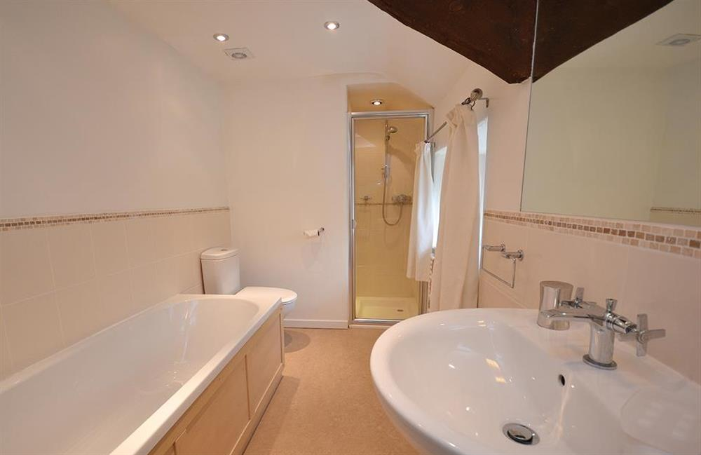 The family bathroom with bath and separate shower at Dower House, Dittisham