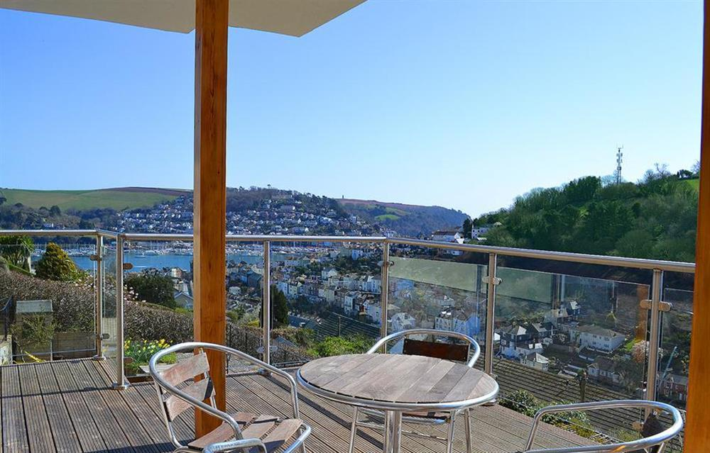 The decked terrace with Dartmouth in the background at Driftwood, Dartmouth