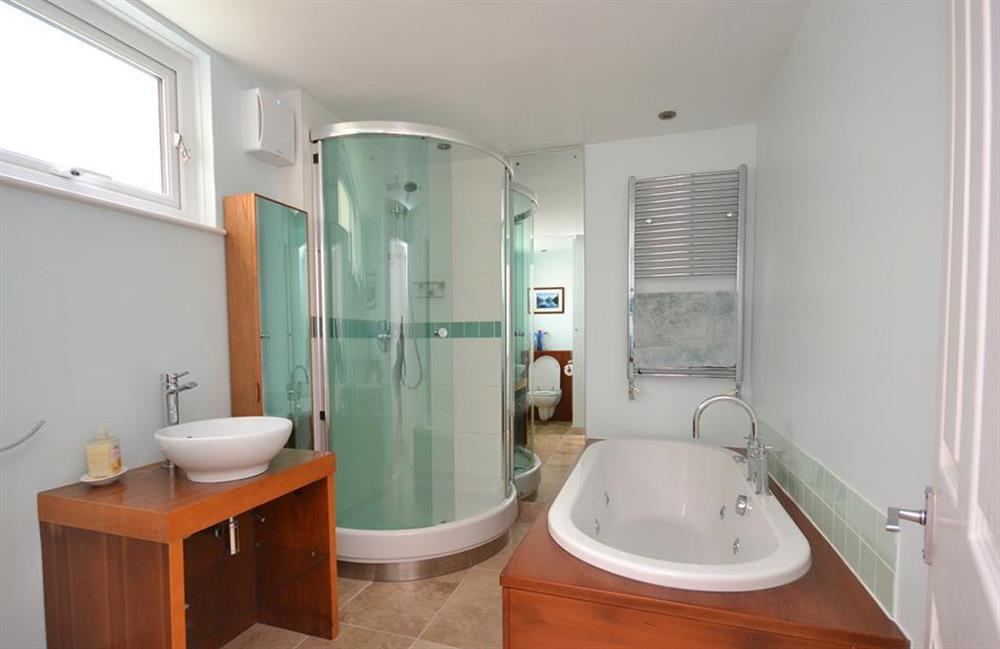The master en suite with bath and separate shower at Driftwood, Dartmouth