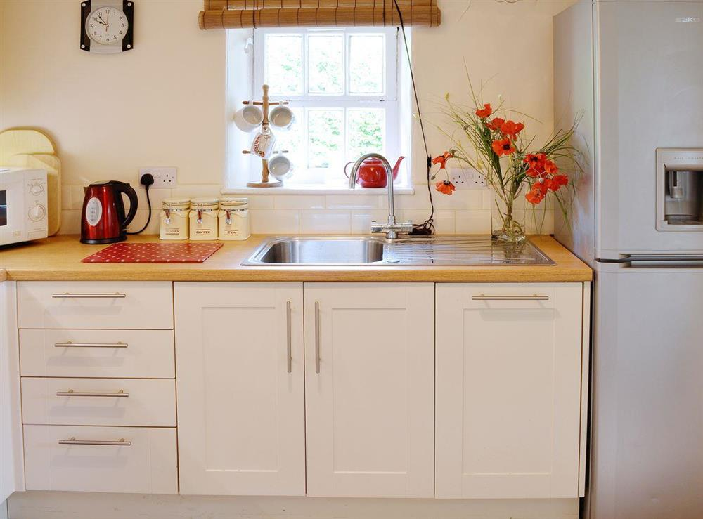 Great kitchen with wooden worktops at Dunlappie Lodge in Edzell, near Brechin, Angus