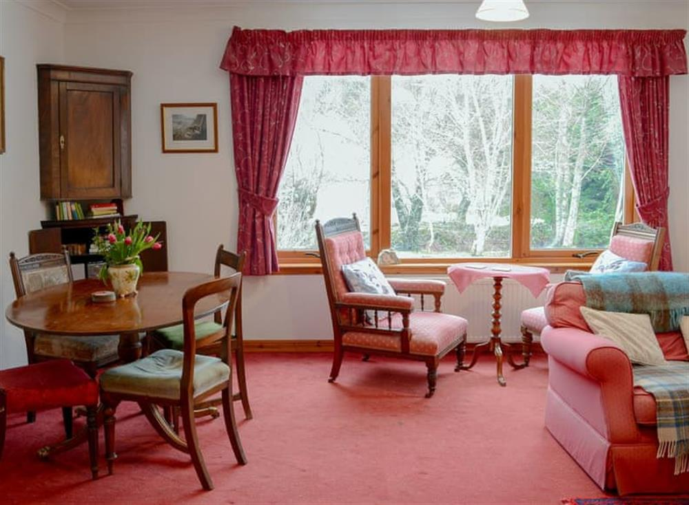 Light and airy living/ dining room at Dunrobin in Lairg, near Sutherland, Highlands, Scotland