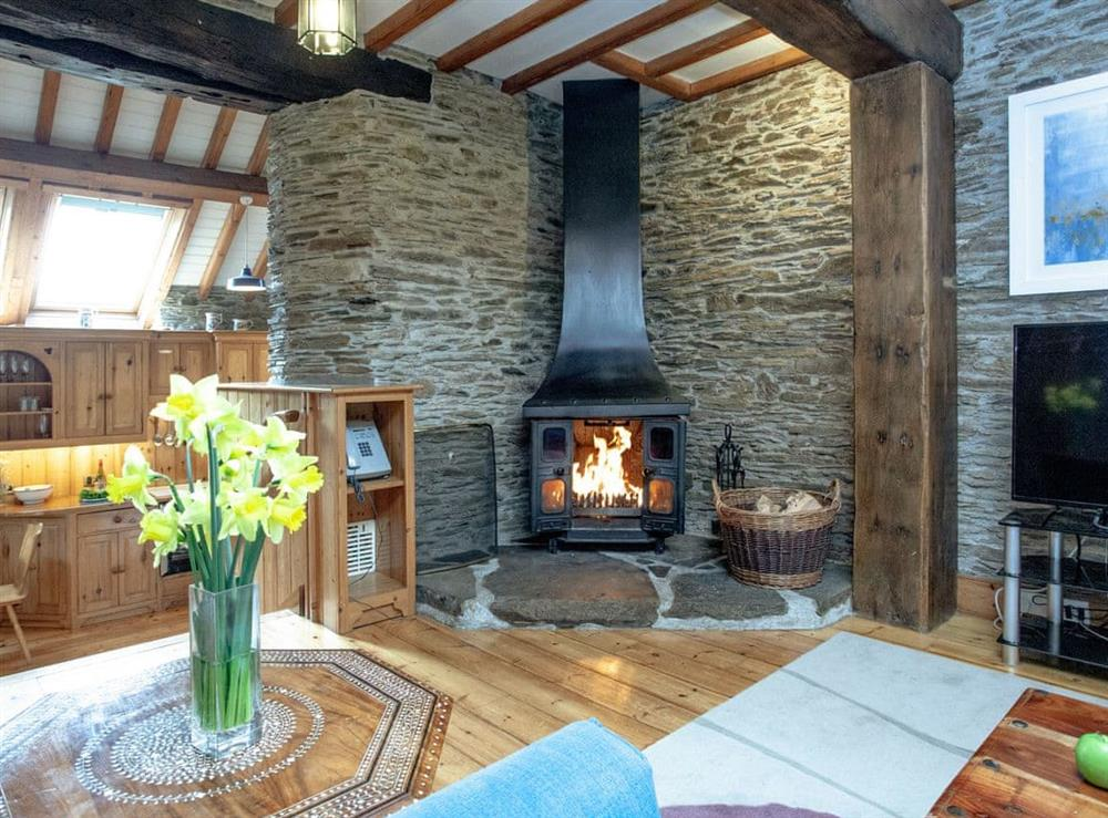Living room at Edgecombe Barn in Bow Creek, Nr Totnes, South Devon., Great Britain