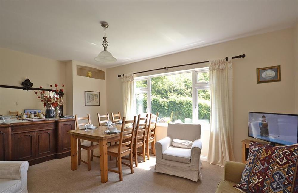 The living room enjoys views over the garden at End O Moor, Shaugh Prior