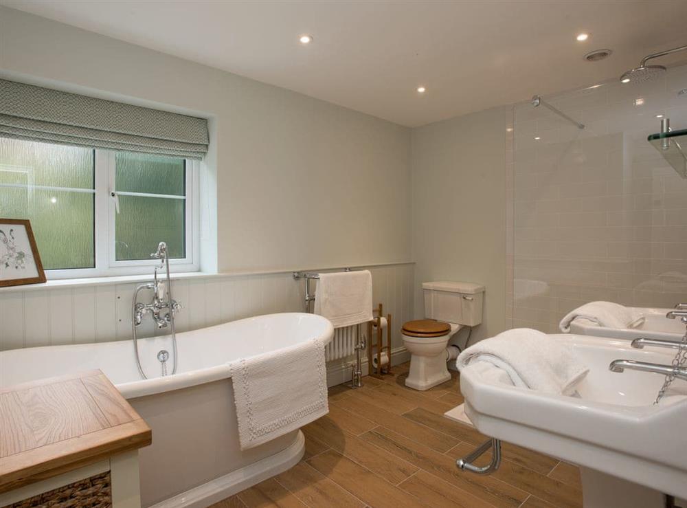 Bathroom with shower at Estate Cottage in Warstead, near North Walsham, Norfolk