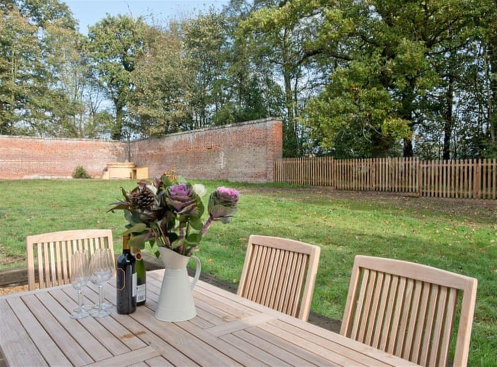 Outdoor area with large garden at Estate Cottage in Warstead, near North Walsham, Norfolk