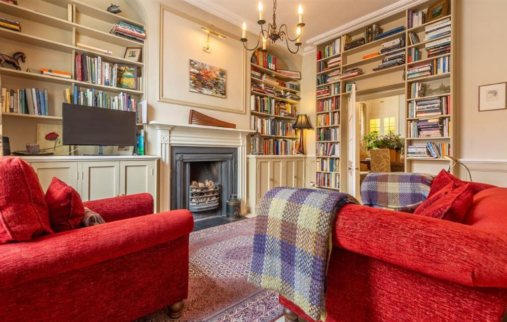Ground floor: Cosy sung/library with ornamental fire place