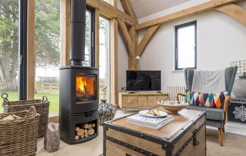 Unwind in front of the wood-burning stove and look out across the Dorset countryside beyond
