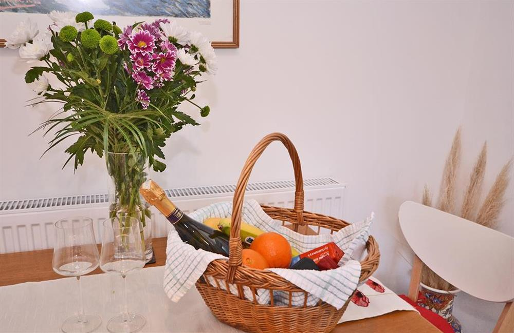 A generous welcome basket awaits you at Fairwinds, Strete