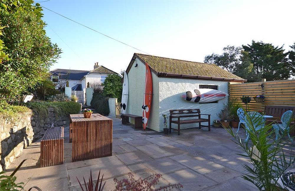 The generous private enclosed patio at Fairwinds, Strete