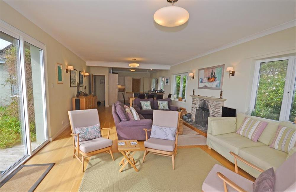 The living room from the patio doors at Fairyfield, Stoke Fleming